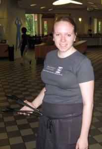 A Fair Trade student employee uniform