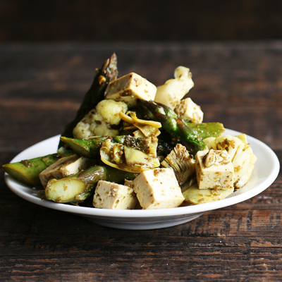 Sauteed Tofu with Spring Vegetables and Za'atar