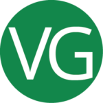 Round green vegan icon with a VG