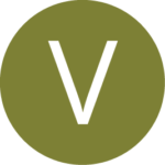 Round green vegetarian icon with a V