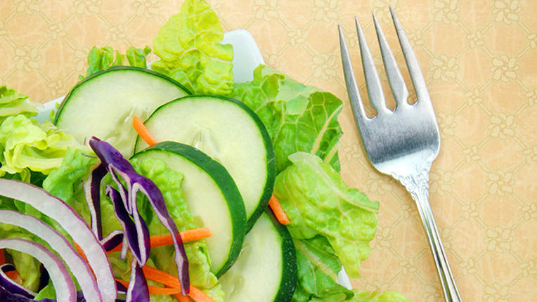 Fresh Garden Salad on Square Plate with Fork