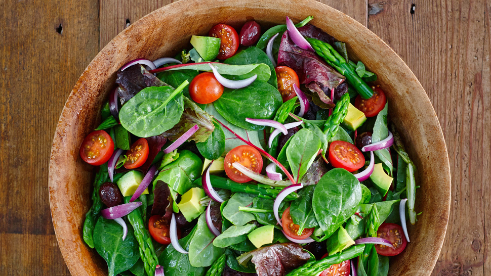 Fresh salad with organic ingrediants in a bowl