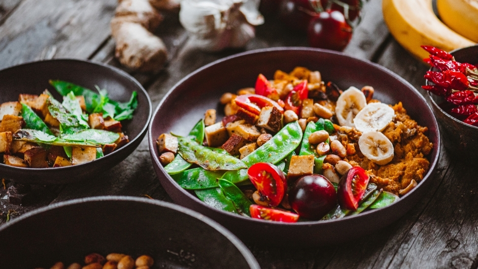 Plant-based meal with fresh vegetables and plant proteins