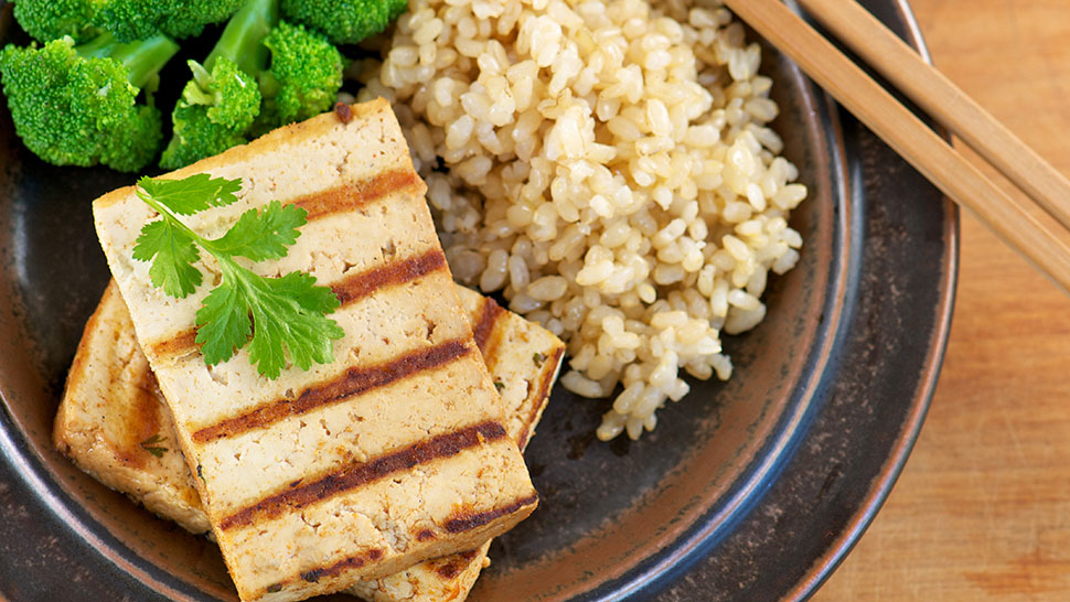 Grilled Marinated Tofu from Above