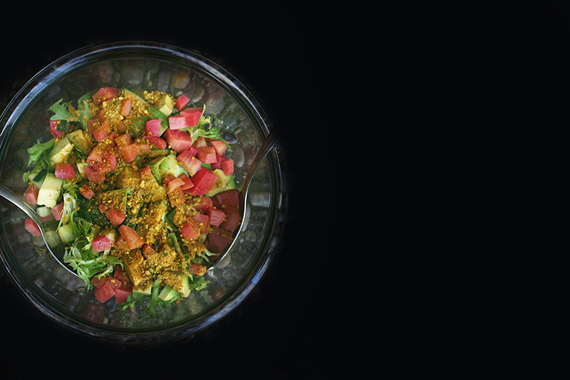 salad with smoky pistachio dust