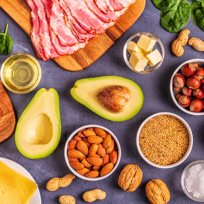 Keto, ketogenic diet, low carb, healthy food background