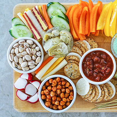 Vegetable Crudites and Dips/ vegetable platter, healthy eating